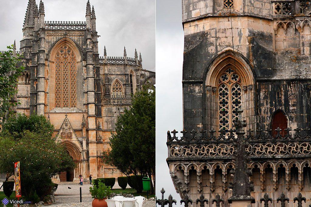 A gauche, l'entrée de la façade latérale. A droite, détails gothiques du monastère.