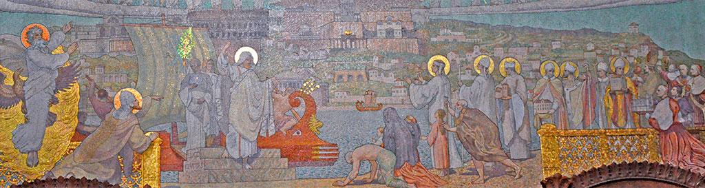 Grande mosaïque, représentant l'arrivée de Saint Pothin à Lyon.
