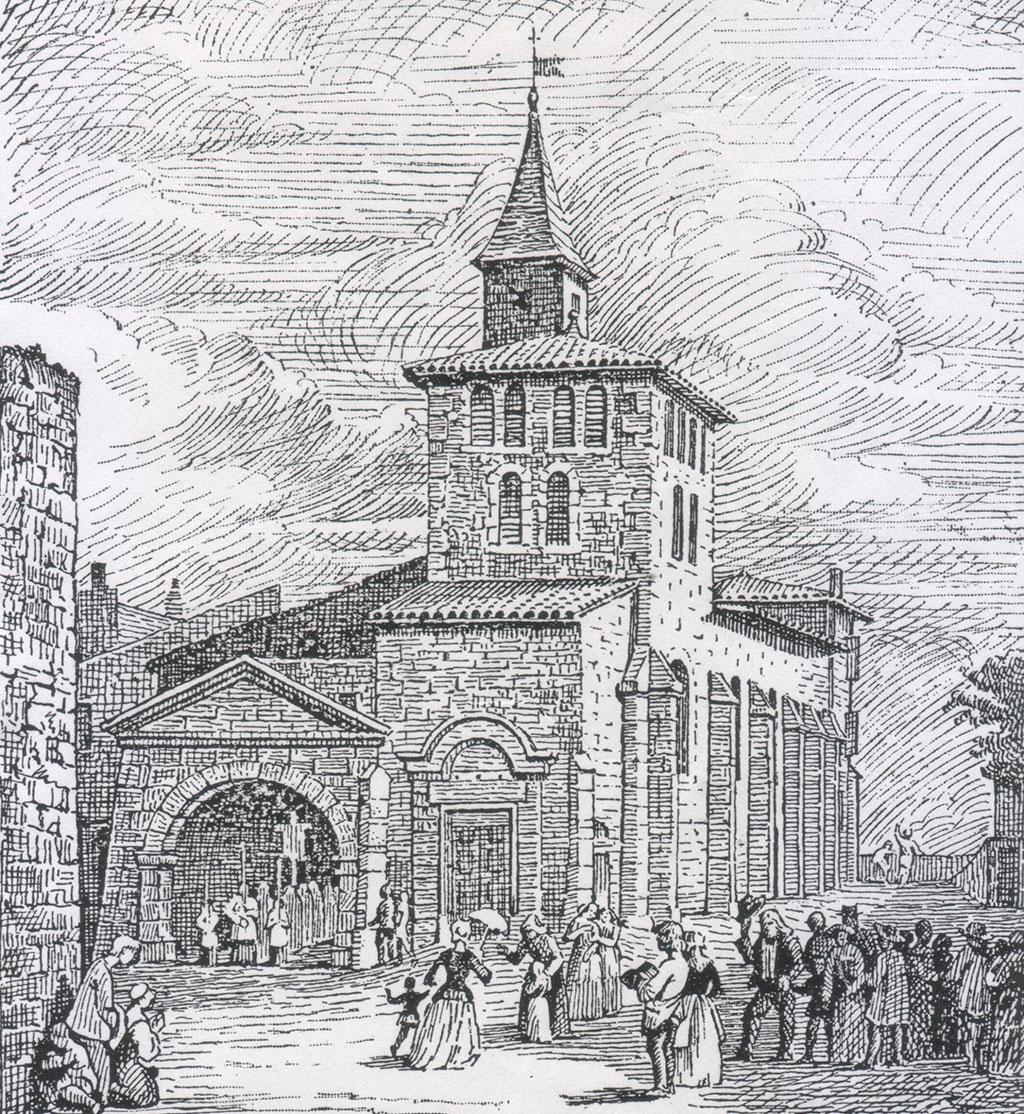 Sur cette gravure de 1820, le sanctuaire a un aspect très différent de ce qu'il est aujourd'hui.
