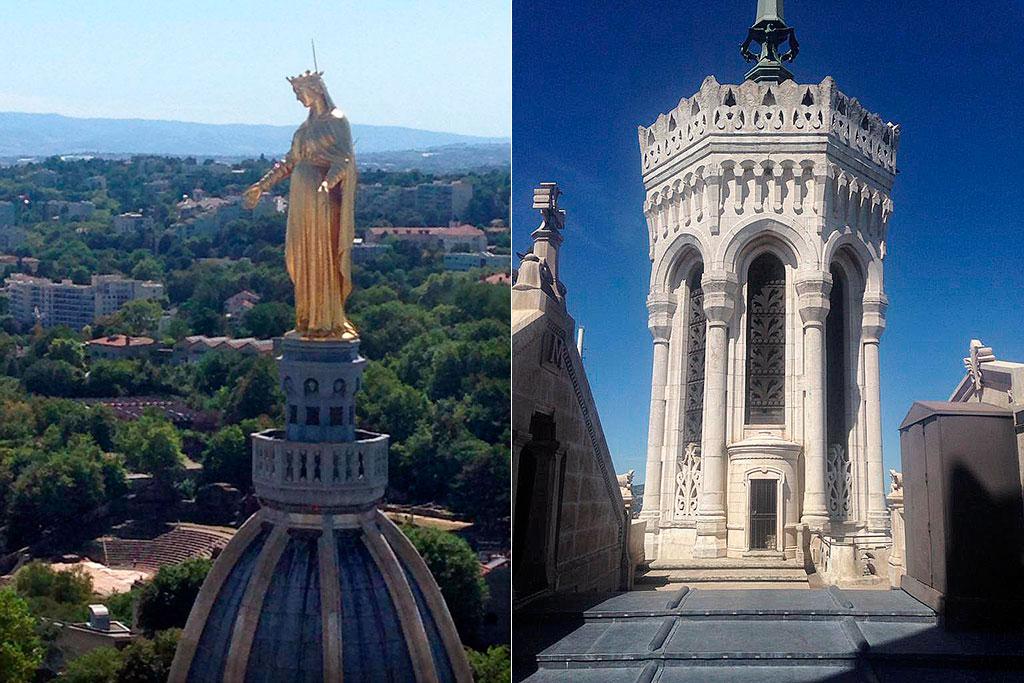 statue de la Vierge et tour de la basilique de Fourvière